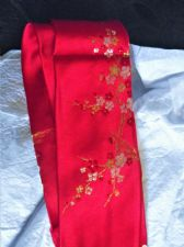 GENTLEMANS BOLD LIPSTICK RED GIANT PANDA PURE CHINESE SILK TIE BAMBOO BLOSSOMS